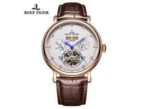 81c681e37a2 Reef Tiger Luxury Tourbillon Watches for Men Leather Strap ...