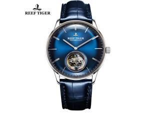 Reef Tiger Blue Tourbillon Watch Leather Strap Men Luxury Brand Automatic Mechanical Watches RGA1930
