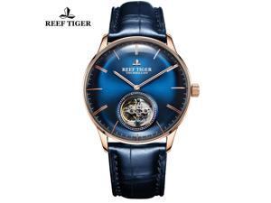 Reef Tiger Men Luxury Brand Tourbillon Watch Blue Dial Rose Gold Automatic Watches Leather Strap RGA1930