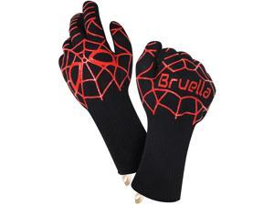 Renewgoo BBQ Grilling Gloves Silicone Heat Resistant Oven Mitts to 932°F / 500°C, Kitchen Grill Non-Slip Gloves for Barbecue, Cooking, Baking, Smoking Meat Insulated, Black/Red
