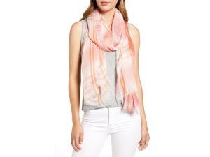 Nordstrom Silk Lightweight Yarn Dyed Stripe Wrap Scarf for Women, Softened with a Whisper of Silk, Patterned in Yarn-Dyed Stripes, One Size, Pink