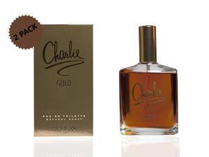 2-PACK Revlon Charlie Gold Eau De Toilette Spray for Women with Floral Fragrance, 3.3 oz. each (6.6 oz.)