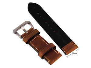 Brown 24mm Vintage Mens Genuine Leather Replacement Watch Strap Band Stainless Steel Buckle