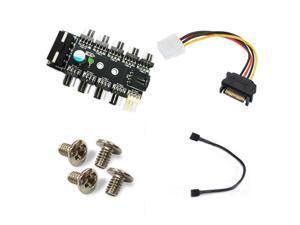 Chassis Fan Hub CPU Cooling HUB 10 Port 12V 3Pin/4 Pin Fan PWM Fan Hub Controller power from Molex 4Pin Interface