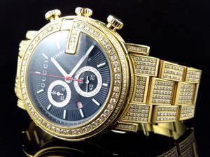 Gold PVD YA101334 Diamond Gucci Watch 14 Ct
