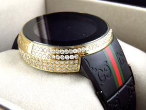 Mens I-Gucci Digital Gold Diamond Watch YA114207 (6.5 Ct)