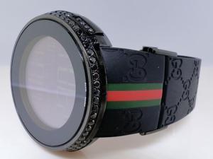 Mens Custom 2 Row Black Diamond Gucci Watch 3.0 Ct