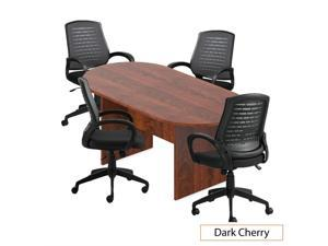 GOF 6FT Conference Table (Dark Cherry) Set with Multifunctional Ergonomic Conference Task Chair (4XG10902B)