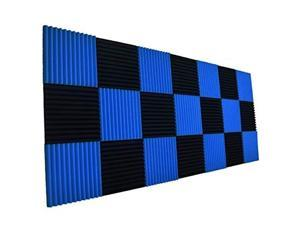 24 Pcs Acoustic Panels,Soundproofing Foam,Acoustic Tiles for Studio,Foam Sound Wedges 2.5 x 30 x 30cm,Blue&Black