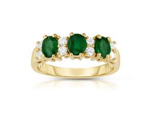 Noray Designs 14K Yellow Gold Oval Emerald & Diamond (1/4 Ct, G-H Color, SI2 Clarity) Ring