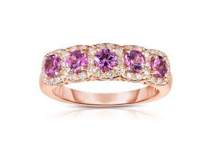 Noray Designs 14K Rose Gold Pink Sapphire & Diamond (0.35 Ct, G-H Color, SI2-I1 Clarity) Wedding Ring