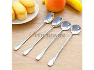 Two Types For Choose 1pc Long Handle Spoons Stainless Steel Tea Coffee Dessert Ice Cream Soup Kitchen Spoon