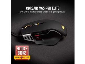 Corsair M65 RGB ELITE Tunable FPS Gaming Mouse - Black - Optical - Cable - Black - USB 2.0 - 18000 dpi - Desktop PC - 9 Button(s) - Right-handed Only