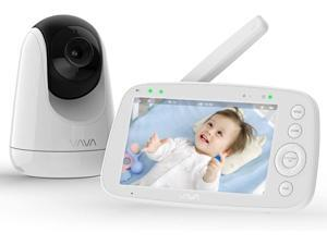 """Baby Monitor, VAVA 720p 5"""" Hd Display Video Baby Monitor with Camera and Audio, Ips Screen, 480ft Range, 4500 mAh Battery, Two-Way Audio, One-Click Zoom, Night Vision and Thermal Monitor"""