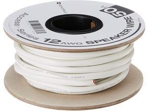 Monoprice Access Series 12 Gauge AWG CL2 Rated 2 Conductor Speaker Wire / Cable - 50ft Fire Safety In Wall Rated, Jacketed In White PVC Material 99.9% Oxygen-Free Pure Bare Copper