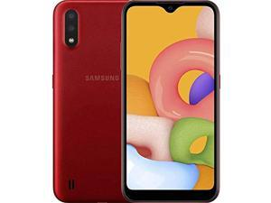 "Samsung Galaxy A01 (A015M) 32GB, Dual SIM, GSM Unlocked, 5.7"" Display Smartphone - International Version - Red"