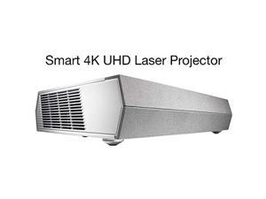 Optoma CinemaX P2 Smart 4K UHD Laser Projector for Home Theater | 3000 Lumens | Superior Image with Laser & 6-Segment Color Wheel | Ultra-Short Throw | Integrated Soundbar | Works with Alexa &