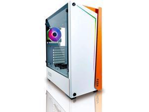 Azza CSAZ-430W-DF1 (White) Apollo MIDTOWER CASE Orange/White, RGB Lighting, Tempered Glass