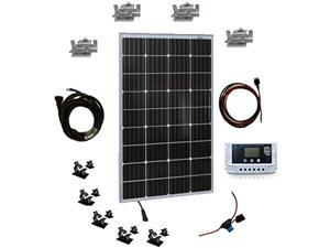 SereneLife SLSPSKT100 100W Kit-12v Monocrystalline Portable Mono Solar Panel Starter Kit w/ 3 ft 11AWG Cable Set, 30A PWM Controller w/LCD Screen, Van Campers, Car Roof, Boat