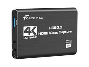 Foscomax Video Capture Card, 4K HDMI Capture Card USB 3.0 Game Capture Card 1080P 60FPS Video Converter for Live Streaming/Game Video Recording/Screen Sharing/Live Conference