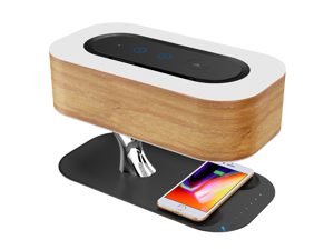 Ampulla Light of Tree Bedside Lamp with Bluetooth Speaker and Wireless Charger, Sleep Mode Stepless Dimming