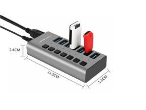 Acasis USB3.0 Splitter with 2A Power Supply 7-port Expansion HUB For PC Computer Notebook Cellphone