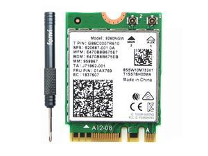Wireless-AC Intel 9260 9260NGW Adapter For M.2 Key E NGFF Wifi Network Card 9260AC, Wi-Fi + Bluetooth 5.0, Up to 1730Mbps-5G, 300Mbps-2.4G, Dual Band, IEEE 802.11ac, MU-MIMO, Windows 10 for Laptop PC
