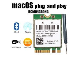 Plug & Play Hackintosh macOS M.2 NGFF BCM94360NG Wifi 802.11ac Bluetooth 4.0 Network Card Support Handoff & Airdrop & Continuity Wireless 2.4G/5Ghz 1200Mbps for PC Laptop Better BCM94352Z DW1560
