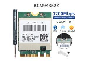 DW1560 BCM94352Z Hackintosh Macos Dual Band Wireless Wlan M.2 NGFF WiFi Network Card BCM94352 Adapter, 867Mbps(5Ghz) + 300Mbps (2.4Ghz), Bluetooth 4.0, IEEE 802.11ac, Windows 7/8/10