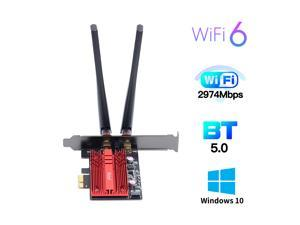 fenvi FV-AX3000 WiFi 6 PCI-E 3000Mbps Bluetooth 5.0 Wifi Adapter Intel AX200 Card Wireless PCI Express 802.11ax/ac 2.4Ghz/5.0Ghz Dual Band MU-MIMO OFDMA With Heat Sink, Antenna for Windows 10 Linux