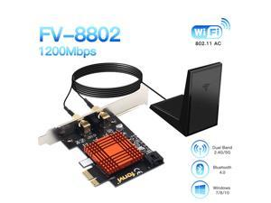 Fenvi FV-8802 AC1200 Wireless Dual Band PCI Express Wi-Fi Adapter, Up to 867Mbps (5Ghz) + 300Mbps (2.4Ghz), Bluetooth 4.2,IEEE 802.11ac, Intel Wifi Card, Directional Antennna, Desktop, Windows 7/8/10