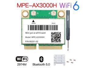Fenvi MPE-AX3000 Wi-Fi 6 Wireless Dual Band 2974Mbps Half Mini PCI-E Network Wlan WIFI Card Bluetooth 5.0,802.11ax/ac 2.4Ghz/5G Adapter MU-MIMO,OFDMA,Windows 10 (64bit) only