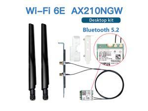 FV-AXE210NG Wi-Fi 6E Desktop Kit Wireless Adapter Bluetooth 5.2 + 3000Mbps 2.4Ghz 5Ghz 6Ghz M.2 2230 Key E With Intel AX210 AX210NGW 802.11ax/ac Support MU-MIMO OFDMA Windows 10 With 6Dbi Antenna Set