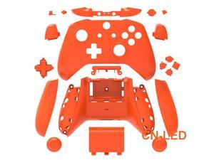 WPS Matte Amber Case Housing Full Shell Set Faceplates + ABXY Buttons + RB LB Bumpers + Right/Left Rails for Xbox One S Slim  (3.5mm Headphone Jack) Controllers for 1708 version
