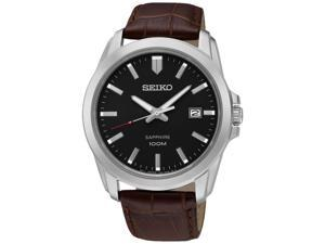 SEIKO SGEH49P2,men's quartz,stainless case,leather strap,sapphire crystal,100m WR,SGEH49