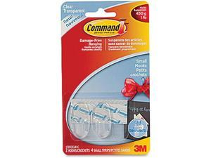 Command Small Clear Hooks, 1 lb Capacity, 2 Hooks 4 Small Strips, (17092CLR-C)