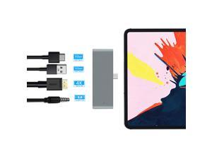 """ESTONE USB C Hub Adapter for iPad Pro Accessories 2018 12.9"""" 11"""", 4 in 1 Type C Dongle Docking Station with HDMI Converter, 3.5mm Headphone Jack, USB-C PD Charging, USB 3.0, Silver"""