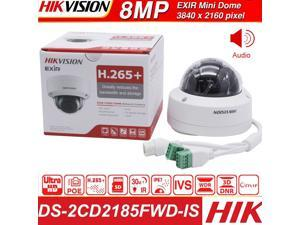 Hikvision Original English version 8MP IP Camera DS-2CD2185FWD-IS Ourdoor 8Megapixesl Dome Video Surveillance POE Cam Built-in SD Slot Audio Interface, (8MP, 2.8 Fixed Lens, 1Pcs)