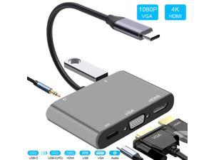 USB C to HDMI/VGA Adapter,  USB C Hub to HDMI, 5 in 1 Thunderbolt 3 to HDMI with 1080P VGA, 4K HDMI, USB 3.0 Port, Power Delivery, Audio Compatible for MacBook,Nintendo Switch,USB C Device