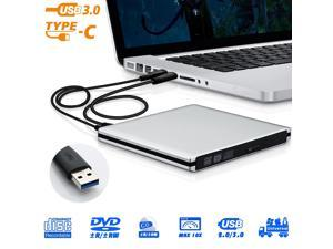 USBC Type C USB 3.0 External Aluminum DVD Burner DVD Writer DVD Player CD Drive DVD Rewriter with Lightscribe Compatible for Laptop and Desktop PC Windows and Linux OS Apple Mac MacBook Pro, Silver