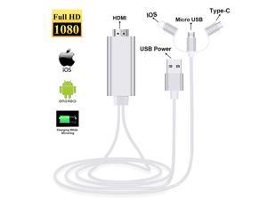 ESTONE 3-in-1 USB C Type C/Micro USB to HDMI Adapter Cable, Digital HD 1080P HDMI Cable,Mirror Mobile Phone Screen to TV Projector,Compatible with S8/9 Note 8/9 and More-Silver