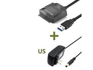 ESTONE USB 3.0 to SATA Converter Adapter for 2.5 3.5 Inch Hard Drive Disk SSD HDD, Power Adapter and USB 3.0 Cable Included, Support UASP, Black