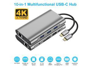 USB Type C Hub, USB C Hub,ESTONE USB Type C Docking Station 10 in 1, USB C to HDMI, USB C to VGA, USB C to 3USB 3.0, RJ45 Gigabit Ethernet PD SD/TF Card Reader 3.5mm for MacBook Air, MacBook Pro