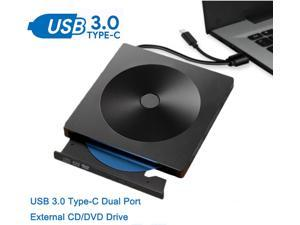 External CD DVD Drive USB 3.0 Type-C Portable Superdrive Burner Player Writer CD DVD +/- RW, Compatible with Windows 10 8 7 XP Vista Mac OS System for Mac Pro Air iMac Laptop