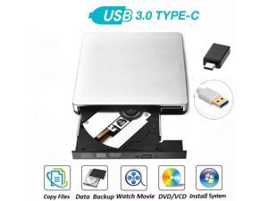 External DVD Drive, Portable USB 3.0 Type-C CD/DVD Rewriter Burner Drive for Laptop Desktop PC Computer Windows Linux OS Apple Mac MacBook Pro Air iMac - High Speed Data Transfer, Silver