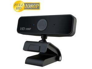 HXSJ 1080p HD Webcam S1, USB Desktop Laptop Camera, Mini Plug and Play Video Calling Computer Camera, Built-in Mic, Flexible Rotatable Clip