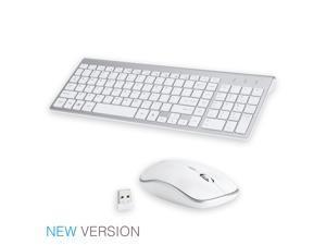 Wireless Keyboard Mouse Combo, 2.4GHz Ultra Slim Compact Full Size Wireless Keyboard Mouse for Computer, Laptop, PC, Desktop, Notebook, Windows 7, 8, 10-(White)