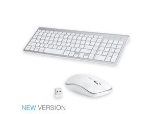 Wireless Keyboard and Mouse Combo, E168 2.4GHz Full-Size Compact Wireless Mouse Keyboard with Number Pad for Laptop/PC- Round Keycaps (White)