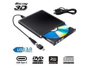 Aluminum External Blu Ray CD DVD Drive 3D, USB 3.0 and Type USB C Bluray DVD CD RW Row Burner Player Compatible for MacBook OS Windows 7 8 10 PC iMac,Black