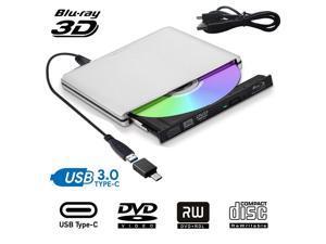 Aluminum External Blu Ray CD DVD Drive 3D, USB 3.0 and Type USB C Bluray DVD CD RW Row Burner Player Compatible for MacBook OS Windows 7 8 10 PC iMac,Silver